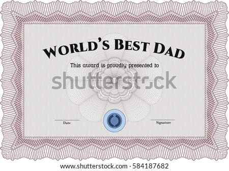 Beautiful certificate template design with best award symbol vector illustration of worlds best dad award certificate template icon in maroon yadclub Gallery