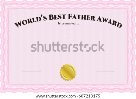 Beautiful certificate template design with best award symbol vector illustration of worlds best father award certificate template yadclub Gallery