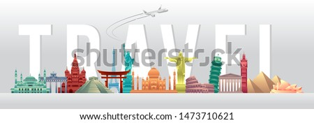 vector illustration of world tourism day poster banner with world's famous landmarks and tourist destinations elements. Modern flat design. travel concept vector illustration