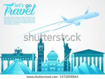 vector illustration of world tourism day poster with plane, world's famous landmarks and tourist destinations elements. travel concept vector illustration