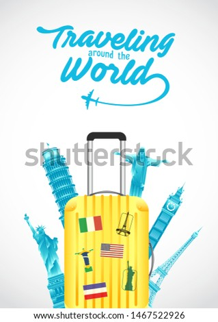 vector illustration of world tourism day poster with suitcase, world's famous landmarks and tourist destinations elements. travel concept vector illustration