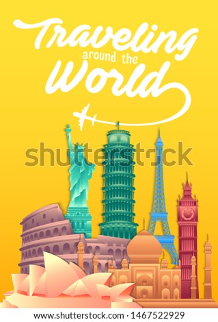 vector illustration of world tourism day poster with world's famous landmarks and tourist destinations elements. travel concept vector illustration