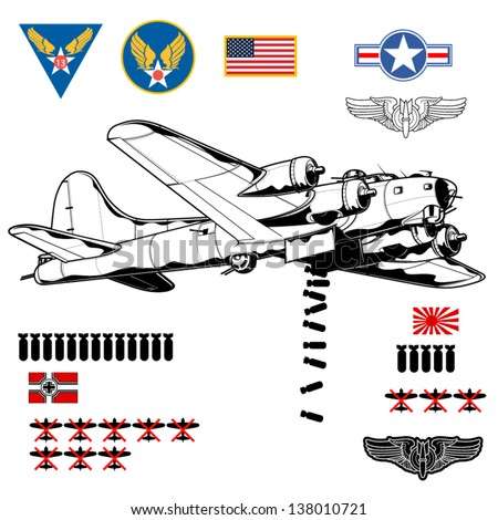 Vector illustration of World War 2 bomber