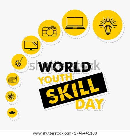 Vector Illustration of World Youth Skill Day with line art icon design. good template for skill icon design.