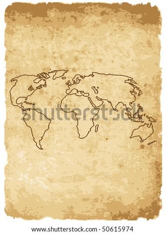 vector illustration of worldmap on old paper