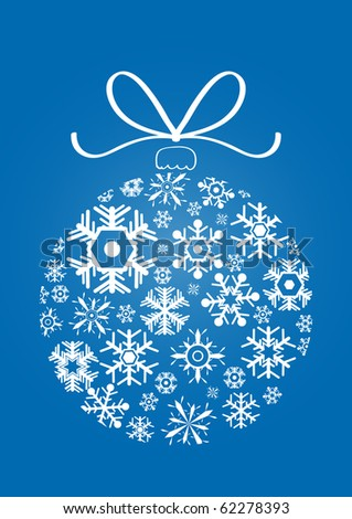 Vector illustration of x-mas ball made of snowflakes