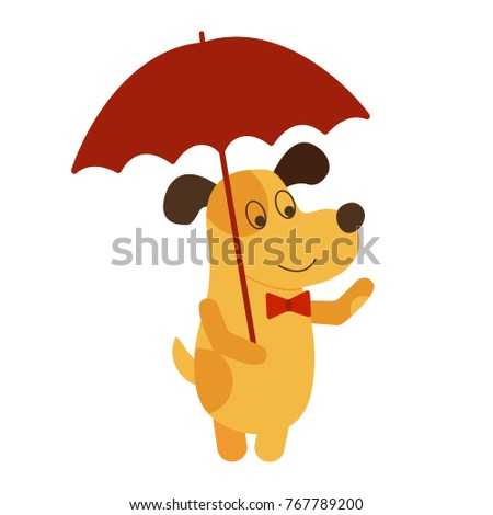 Vector illustration of yellow dog symbol 2018. Yellow dog with umbrella. Year of dog 2018 logo, icon, element for new year of dog 2018 design. Vector symbol of new year 2018 in Chinese calendar EPS 10
