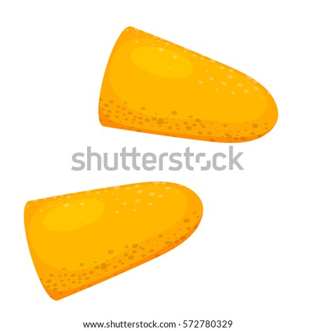 Vector illustration of yellow ear plugs on a white background. Cartoon style earplugs