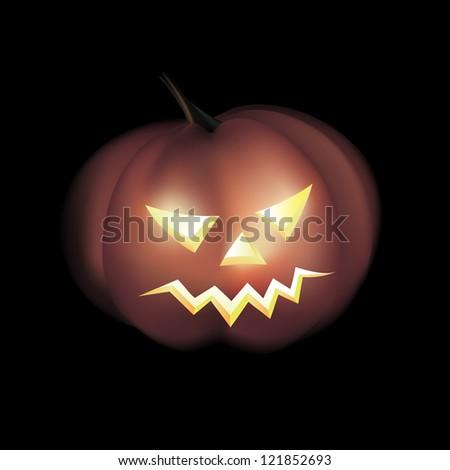 Vector Illustration of Yellow Halloween Pumpkin
