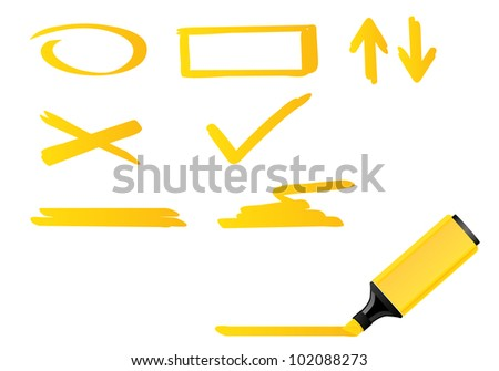 Vector illustration of yellow highlighter. Isolation set.