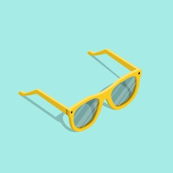 Vector illustration of yellow isometric hipster sunglasses in cartoon style isolated on the background