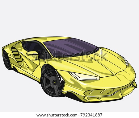 Stock Photo vector illustration of yellow Lamborghini    car  separate on white background. Editable vector file.