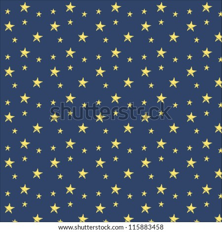 vector illustration of yellow stars on dark blue background pattern