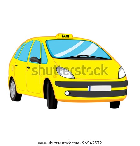 Vector illustration of yellow taxi car