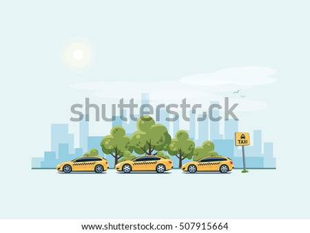 Vector illustration of yellow taxi cars parking along the city street in cartoon style. Hatchback, station wagon and sedan standing in a row with taxi pickup point sign.