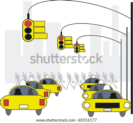 Vector illustration of yellow taxis and traffic lights in New York.