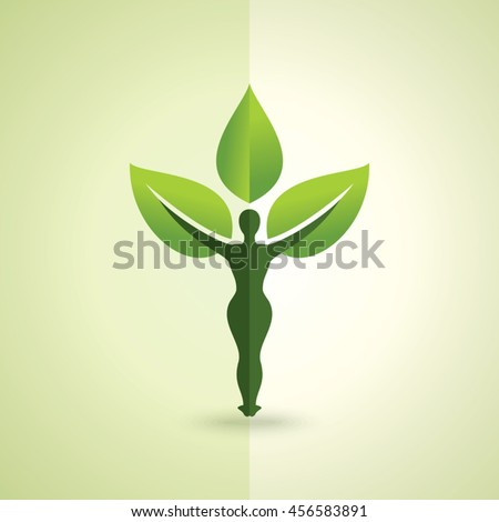 Vector illustration of yoga creative with leaf.