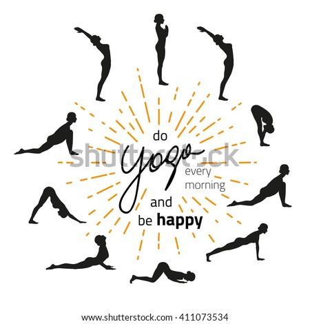 vector illustration of yoga exercise sun salutation surya