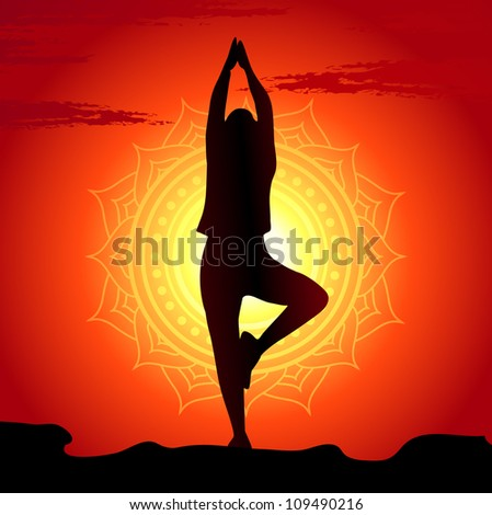 Vector illustration of yoga poses at sunset background - stock vector