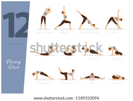 vector illustration of 12 yoga