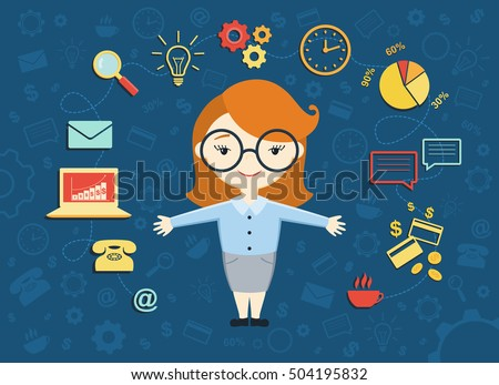 Vector illustration of young business woman, personal assistant or hard working secretary