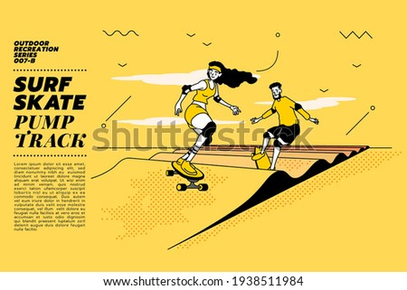 Vector illustration of young couple go surfing with skateboard or surf skate at pump track or ramp track or skate park on modern style abstract with composition background.
