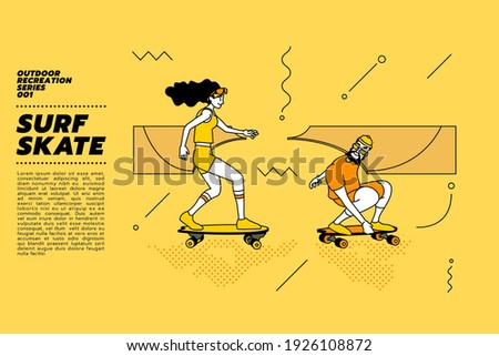 Vector illustration of young couple go surfing with skateboard or surf skate at ramp track or skate park on modern style abstract with composition background.