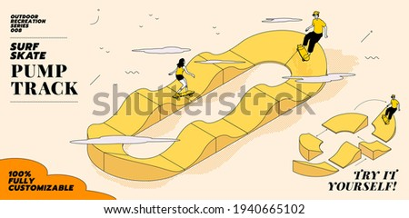 Vector illustration of young couple go surfing with skateboard or surf skate at ramp track or skate park on modern style abstract with composition background. The pump track is 100% customisable. Foto d'archivio ©