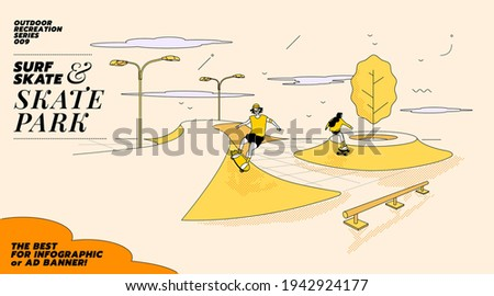 Vector illustration of young couple go surfing with skateboard or surf skate at ramp track or skate park on modern style abstract with composition background. The best for infographic or ad banner.