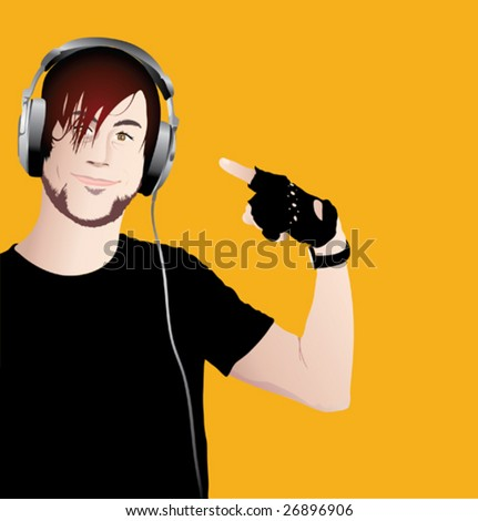 Vector illustration of young happy man with headphones