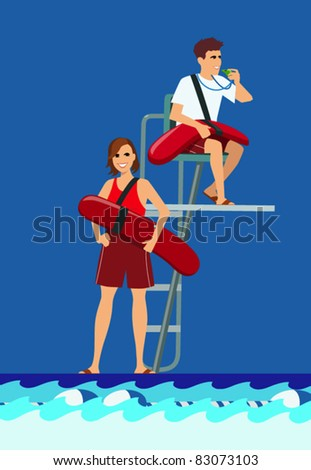 vector illustration of 2 young