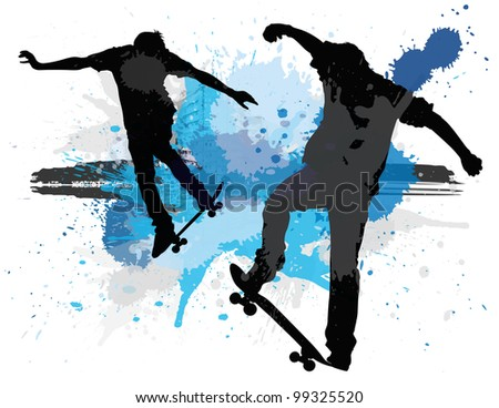 Vector illustration of young teens skating against a paint splatter background.
