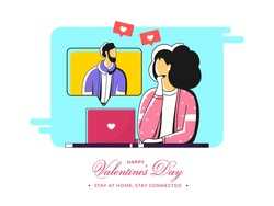 Vector Illustration Of Young Woman Interacting On Video Call With Her Boyfriend To Escape The Coronavirus For Valentine's Day.