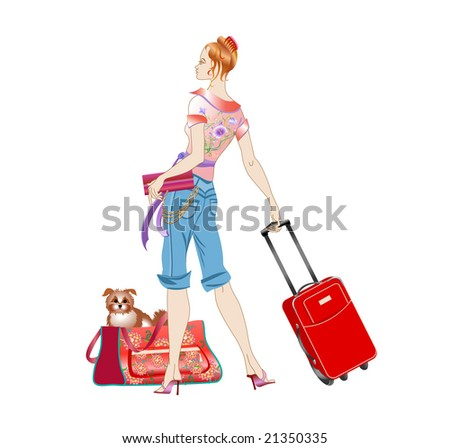 Vector illustration of young women holding the suitcase during her traveling with the dog.