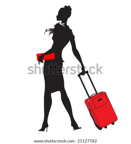 Vector illustration of young women silhouette, walking with the red suitcase.