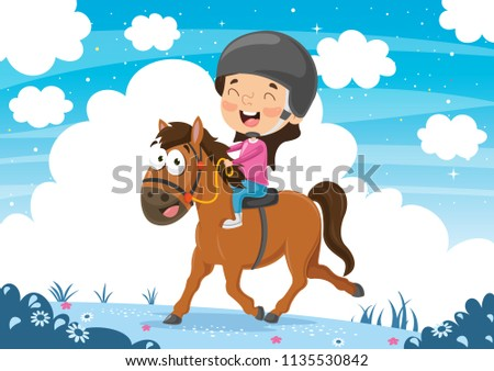 Vector Illustration OfChild Riding Horse