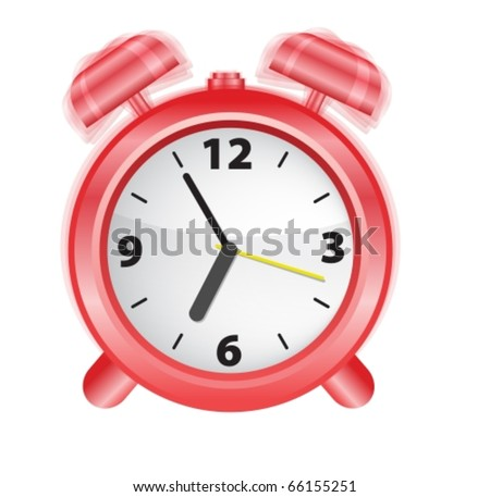 Vector illustration og an alarm-clock ringing at early morning