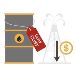 Vector illustration Oil price decrease. Petroleum industry. Economic crisis. Drop prices to negative value. Low cost. Storage. Market crash. WTI West Texas Intermediate. Falling global oil demand.