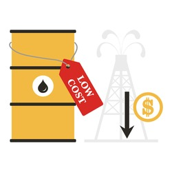 Vector illustration Oil price decrease. Petroleum industry. Economic crisis. Drop prices to negative value. Low cost. Storage. Market crash.. Falling global oil demand.