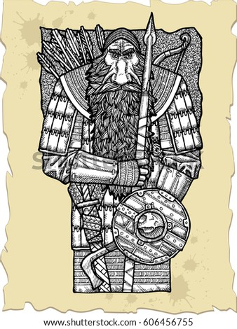 vector illustration old bearded
