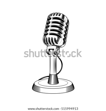 Vector illustration old microphone made in engraving style