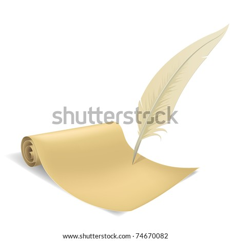 Vector illustration. Old paper scroll and feather on white background.