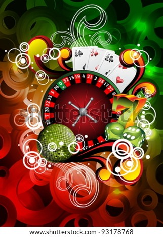 Vector illustration on a casino theme with roulette and disco ball.
