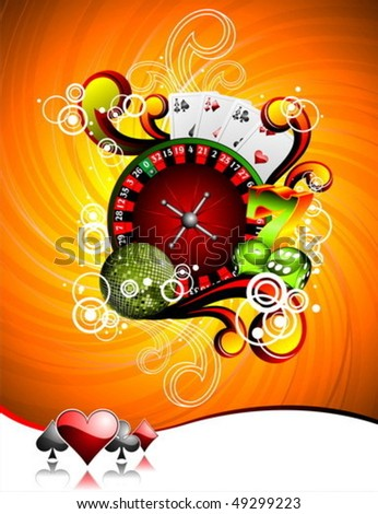 Vector illustration on a casino theme with roulette wheel, playing cards and dices.