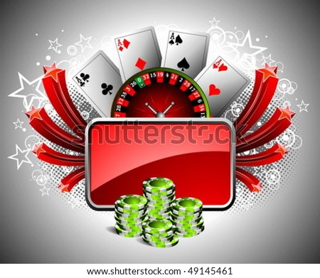 Vector illustration on a casino theme with roulette whel, playing cards and poker chips.