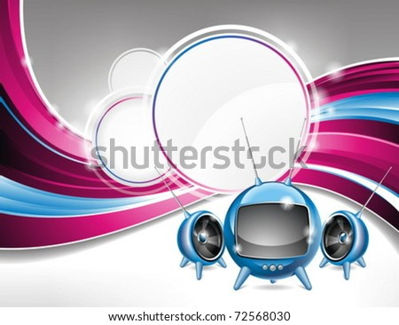 Vector illustration on a media and movie  theme with futuristic tv on abstract background design.