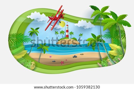 Vector illustration on a summer holiday. beautiful views of the beach. there are lighthouses and airplanes. paper art style