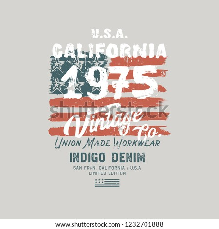 Vector illustration on a theme of jeans, denim and raw. Stylized American flag. Vintage design. Grunge background. Typography, t-shirt graphics, print, poster, banner, flyer, postcard
