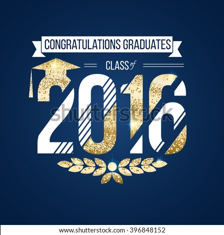 vector illustration on blue background congratulations on graduation 2016 class of, texture gold luxury design for the graduation party, a gold wreath