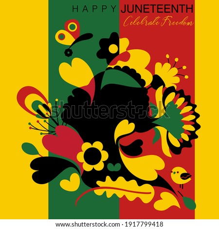 Vector illustration on Happy Juneteenth in abstract colorful floral designs and a black woman on a red green and black background flag colors of Africa